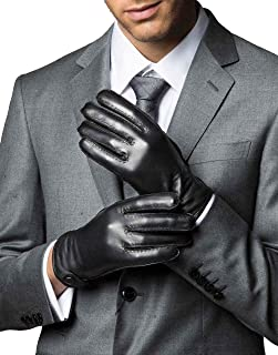 Men's Winter Touchscreen Sheepskin Drees Leather Gloves Handsewn