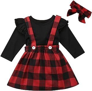 Newborn Baby Girls Christmas Outfits Deer Applique Check Long Sleeve T-Shirt Tops+Plaid Long Pants+Stocking+Headband