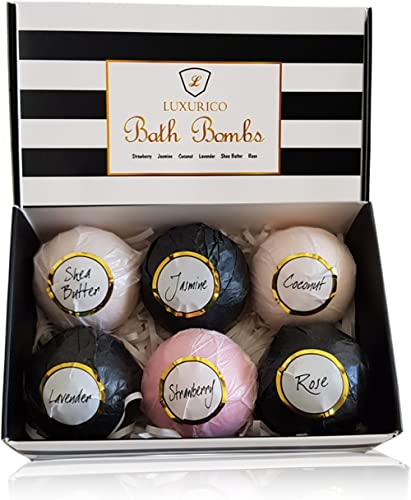 Luxurico Bath Bombs Gift Set 6 Natural Fizzies, Shea Butter & Lavender Dry Skin Moisturize, Perfect for Bubble & Spa ...