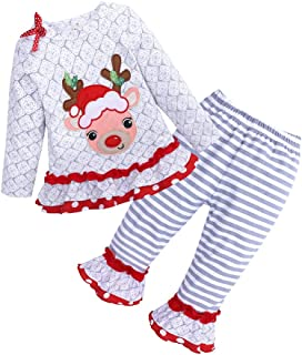 Divilon Christmas Girl Outfits Cute Toddler Kids Baby Girl Christmas Deer Ruffle T-Shirt Tops+Stripe Flare Pants Outfits Sets