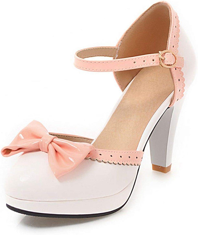 Jifnhtrs Women High Heels Sandals Bowknot Square Heels Summer shoes Women's Platform Sandals Bow Footwear