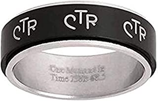 One Moment In Time J38B LDS Men's CTR Ring Wide Antique Black Stainless Steel Spinner Size 5.5-13.5