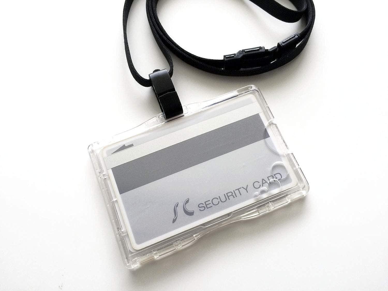 IC社員証用 干渉防止IDカードホルダー(エラー防止セパレーター内蔵) 2枚収納タイプ?ハードケース&ストラップ