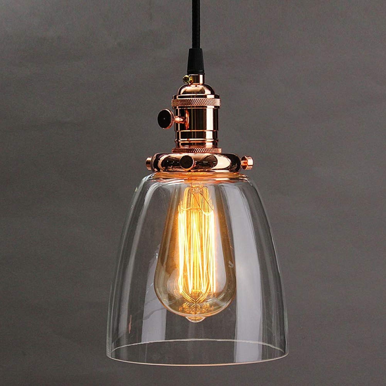 WOQUXIA E27 Chandelier Abat-Jour Couvercle de Lampe Industrielle 2M Cordon Barre de café Couvercle en Verre Plafond pendentif Base de lumière