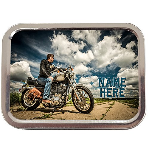 Personalised Harley Rider Motor Bike Sh123 2oz Tobacco Tin | Baccy Storage | Pill Box | Cigarette Rolling Stash Can