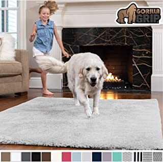 GORILLA GRIP Original Faux-Chinchilla Area Rug, 5x7 Feet, Super Soft and Cozy High Pile Washable Carpet, Modern Rugs for Floor, Luxury Shaggy Carpets for Home, Nursery, Bed and Living Room, Light Gray