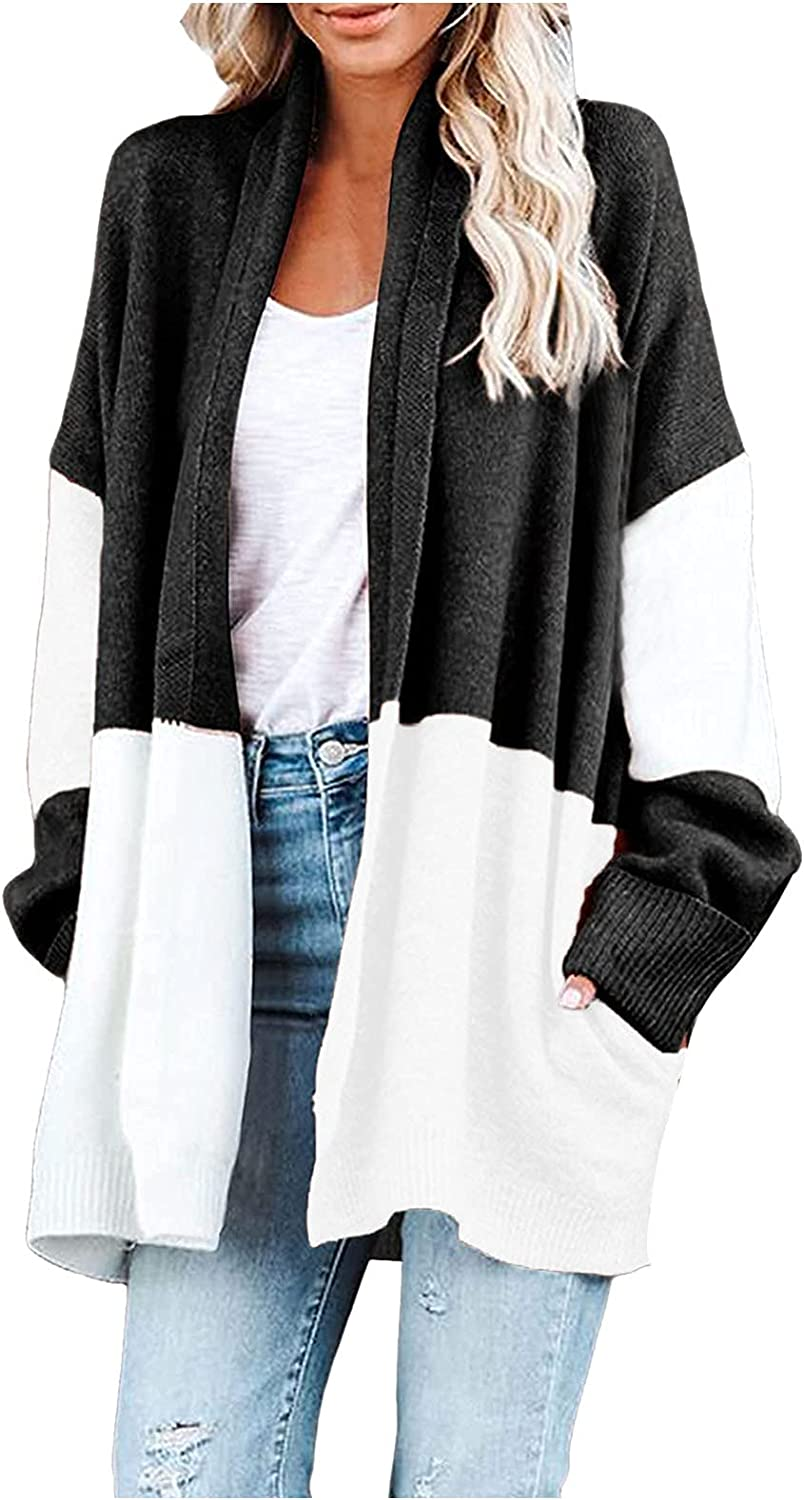Women's Contrast Knit Cardigan Rainbow Color Stitching Casual Sweater Coat