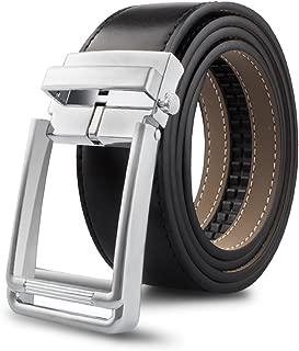 """Leather Belt Men's Ratchet Belt Genuine Belt 1.3"""" Wide No Hole Leather Dress Black Belt"""