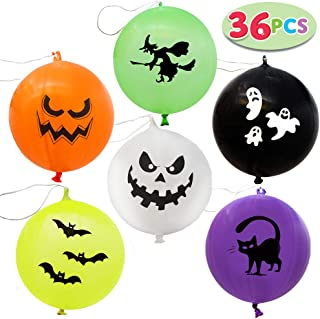 JOYIN 36 Pieces Halloween Mega Punch Balloons for Halloween Punching Balloon Party Favor Supplies Decorations, Prize Punch Game Rewards, Trick or Treat Toys, School Classroom Game, Kids Goodie