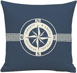 BIGBOBA. Lino sofá cojín patrón de Funda de Barco Pirata Suave Decorativo Sofá Almohada Azul patrón de Color Blanco de Onda Wave Funda de cojín 45 * 45 cm (C)