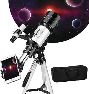 Kacsoo Telescopio Astronómico Portátil y Lente 70 mm Máximo múltiplo 150X con buscador de Estrellas Trípode Soporte para t...