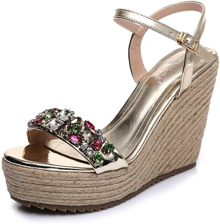 Traumfnger Sommer-Keil-Schuhe handgewebte hochhackige Sandalen sexy Knchel Schuhe (Farbe   Gold 8cm, gre   37)