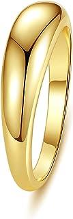 wowshow خاتم ذهبي مكتنز سميك قبة خواتم ذهبية للنساء مقاس 5-9