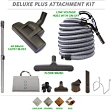 OVO Central Vacuum Attachment Cleaing Tool Kit-Air-Driven Carpet Brush Multi Set-40ft Vac Dual Votage Switch Control Hose, 40ft, Black and grey