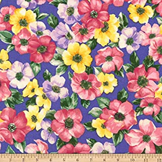 Robert Kaufman Woodside Blossom Flowers Fabric, Periwinkle, Fabric By The Yard
