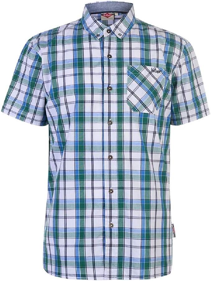 Lee Cooper Mens S/S Camisa a cuadros - Negro/Blanco/Rojo