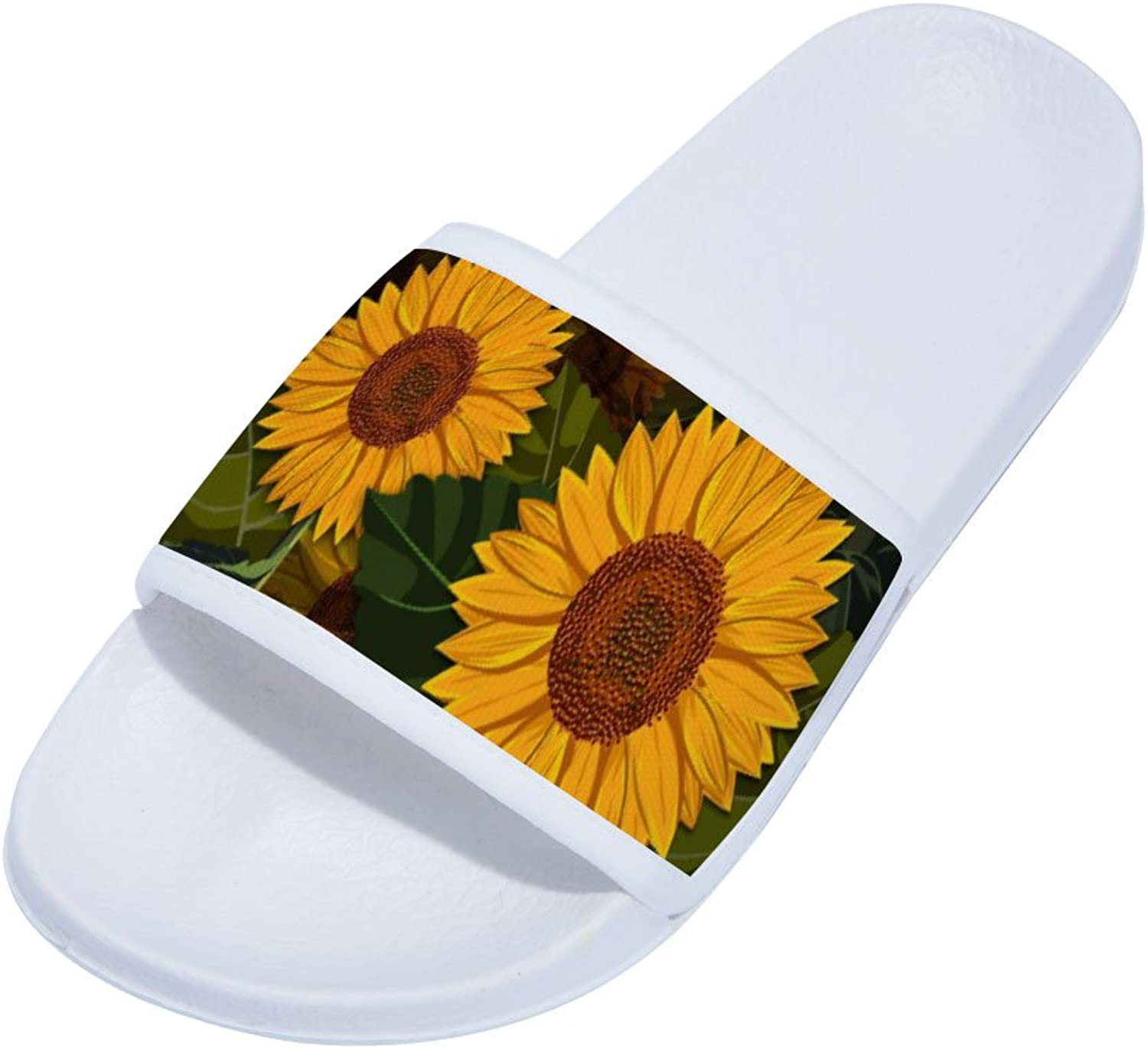 Buteri Sunflowers Slippers Quick-Drying Non-Slip Slippers for Womens