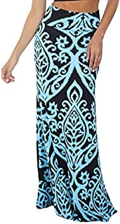 Vintage Long Maxi Skirt for Womens Coral Print High Waist Skater Skirts Ladies