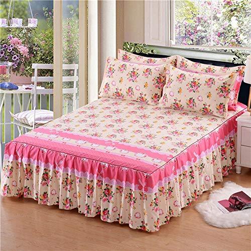 uyeoco Falda de Cama 150x200/180x200 Volantes Falda de la Cama Cubrecamas Cubierta Sábana con Faldón Colchón Colcha,Tejido Grueso (Color : N, Size : 2pcs Pillowcase)