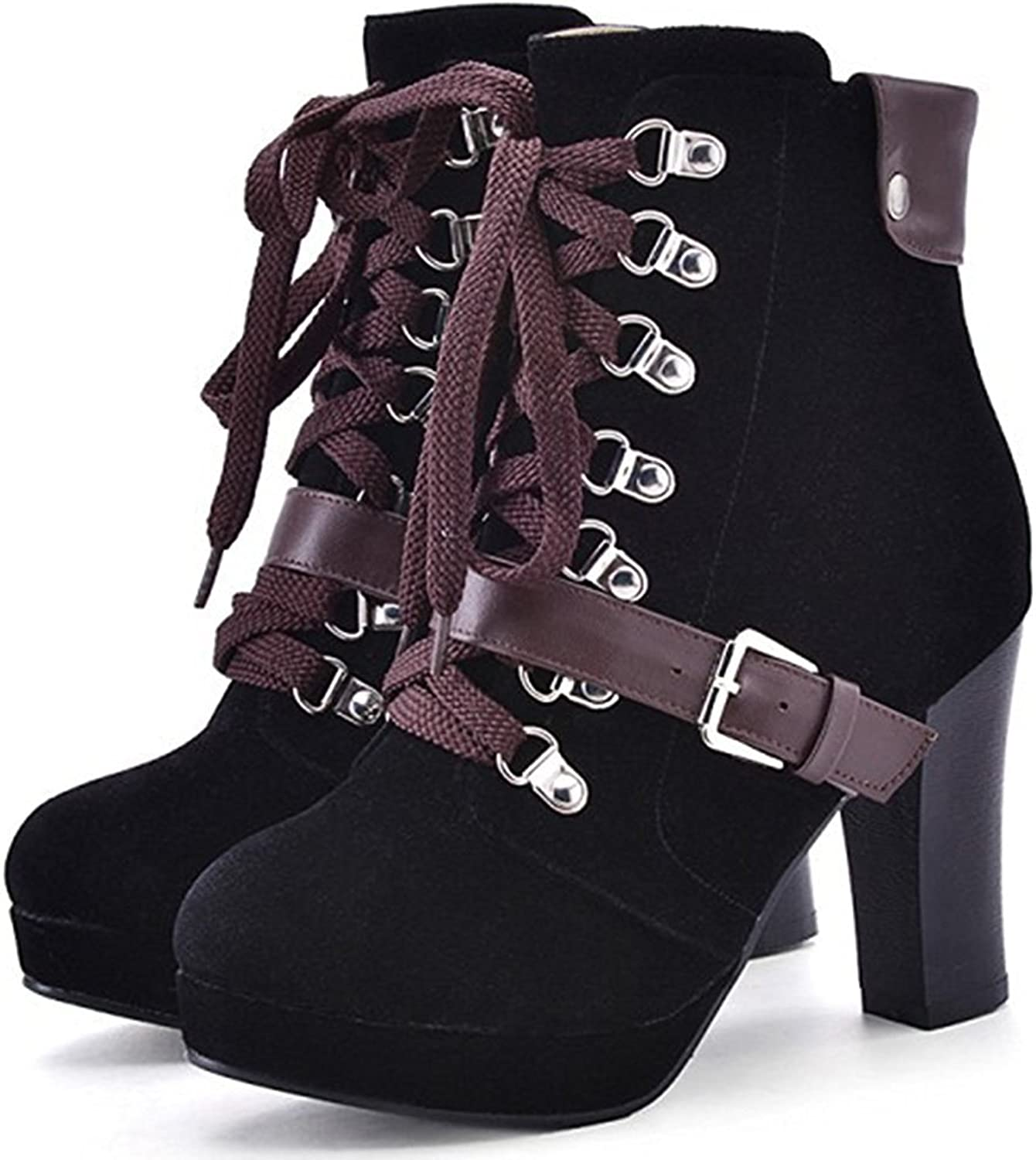 Colnsky Women's Stylish Round Toe Buckled Belt Lace-up Booties Chunky High Heel Platform Ankle Boots