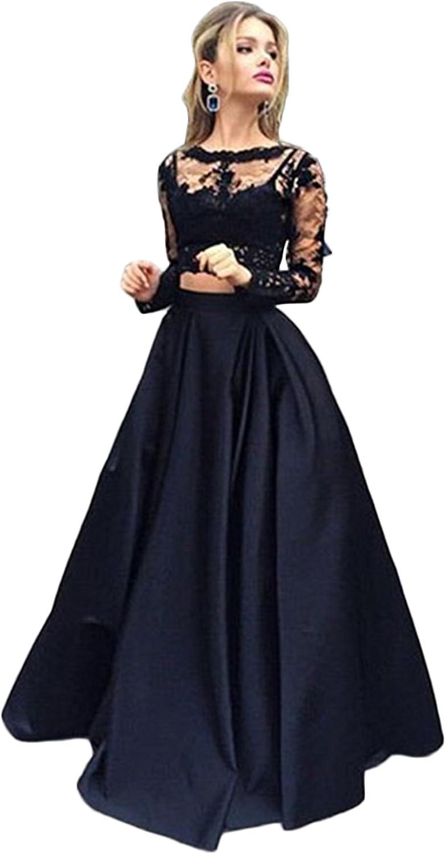 Mathena Women's Lace Appliques Long Sleeve Crewneck 2 Piece Formal Prom Dress
