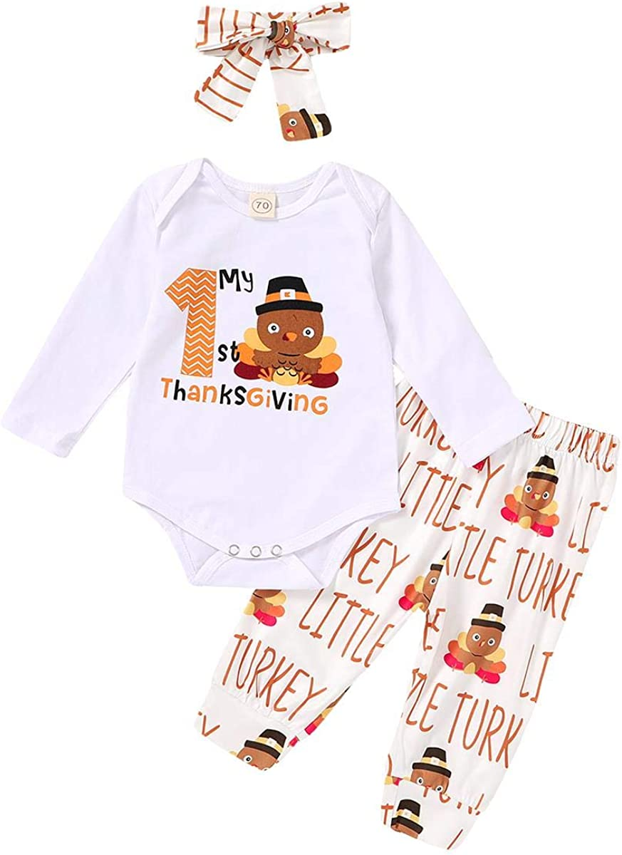 Infant Baby Girls Boys My 1st Thanksgiving 3Pcs Outfit Long Sleeve Letter Print Romper Tops+Pants+Headband Clothes Set