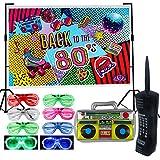 Paquete de 9 suministros de decoración para telón de fondo de fiesta de los años 80, inflable retro para teléfono móvil, caja de luz LED, obturador, gafas de sombreado, favores de fiesta, decoración