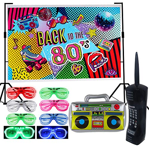 Back To The 80's Party Decorations Set. Includes LED shutter shades, inflatables and a backdrop banner.