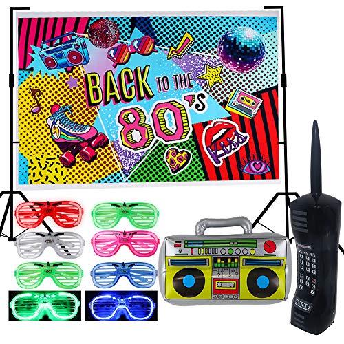 foci cozi Lot de 9 toiles de fond pour fête des années 80 - Gonflable rétro pour téléphone portable Boombox - Lunettes d'ombrage LED - Cadeaux de fête - Thème hip-hop - Décoration d'anniversaire