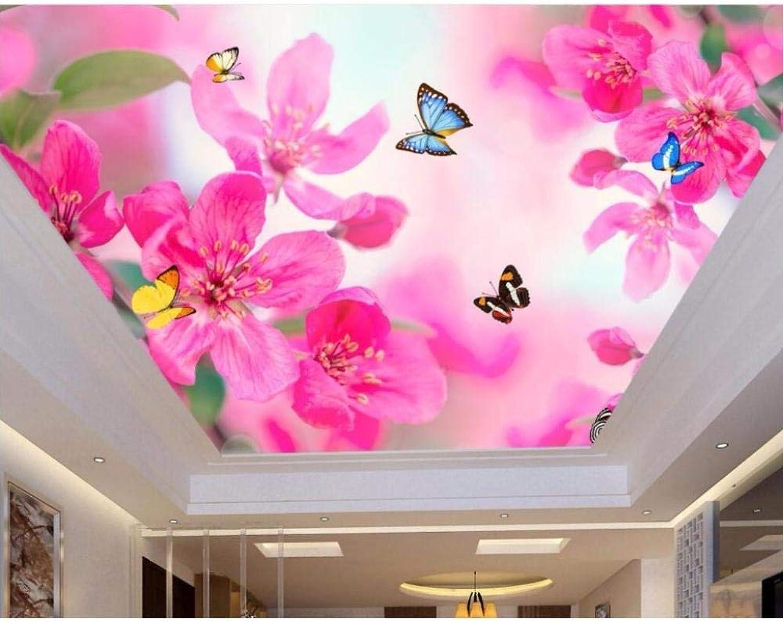precioso Vandelkt Murales En El Techo Techo Techo Papel De Parojo Flor De Ensueo Mariposa Decoración Pintura Murales De Parojo 3D Papel Tapiz Para Sala De Estar 250Cm(W) X160Cm(H)  muy popular