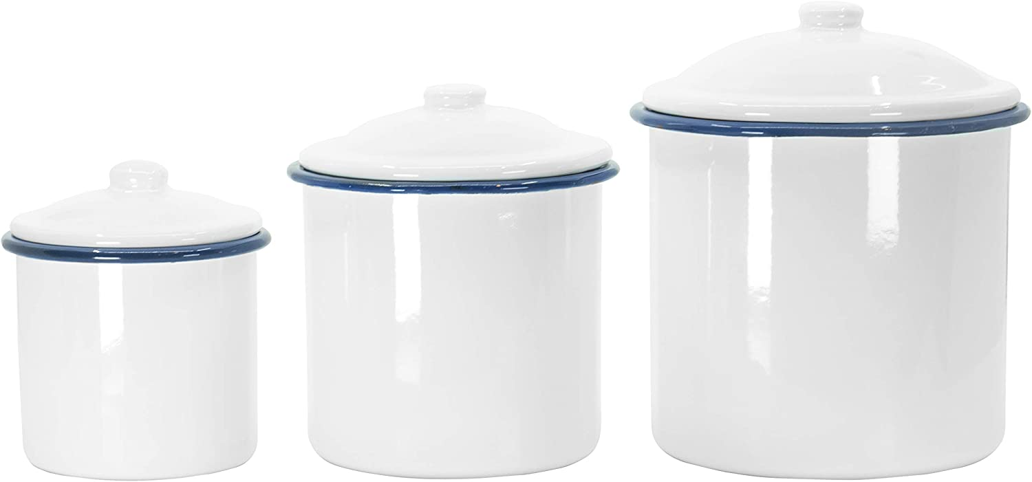 Red Max 77% OFF Co. White Tin Enameled 3 Lids with Canisters 35% OFF Nesting Piece