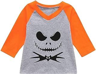 Patchwork Tops Toddler Baby Boys Girls V-Neck Devil Print T-Shirt Long Sleeve T-Shirt Halloween Blouse