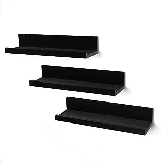 Americanflat Set of 3-14 Inch Floating Wall Shelves - Black