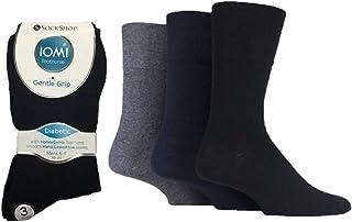 IOMI Men's Diabetic Gentle Grip Non-Elastic Cotton Rich Socks
