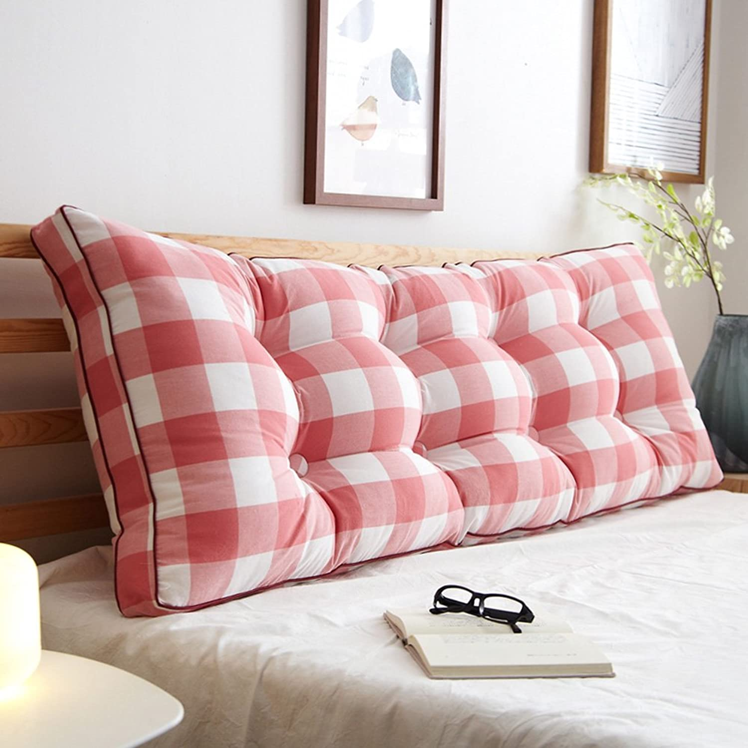 RFJJAL Triangle Bedside Back Cushion Large Back Pillow Sofa Soft Bag Bedroom Two-Person Bed Cushion,7 colors, 8 Sizes (color    4, Size   100×20×50cm)