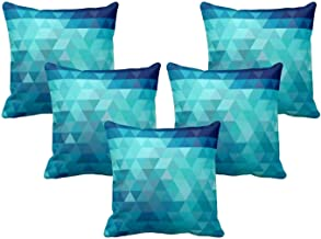TheYaYaCafe® 12X12 inches Set of 5 Cushion Covers Creditably Abstract Printed Sofa Throw Pillows Multicolor