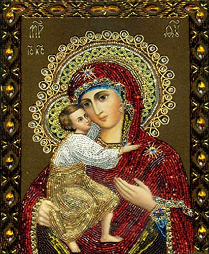 HAHEZDY 5D DIY Square Diamond Painting Drawing Full Drill Decor Religiosa Santísima Virgen María Y Jesús,60X80CM