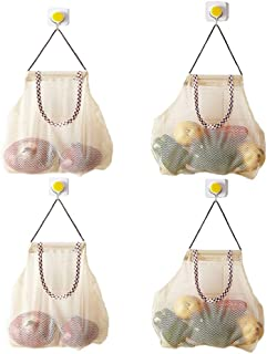 Reusable Hanging Storage Mesh Bags - Hatisan Durable & Strong Fruit and Vegetable Mesh Bags/Pulling resistance Storage Tote Bags for Garlics, Potatoes, Onions or Garbage Bag-Clear(4Pcs)