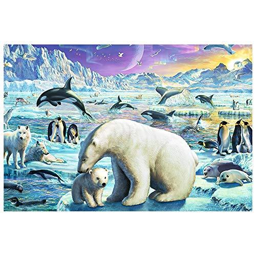 Puzzle-s Jigsaw 1000 Stück, 75.5 x 50.5cm, Polar Tier Eisbär Pinguin s