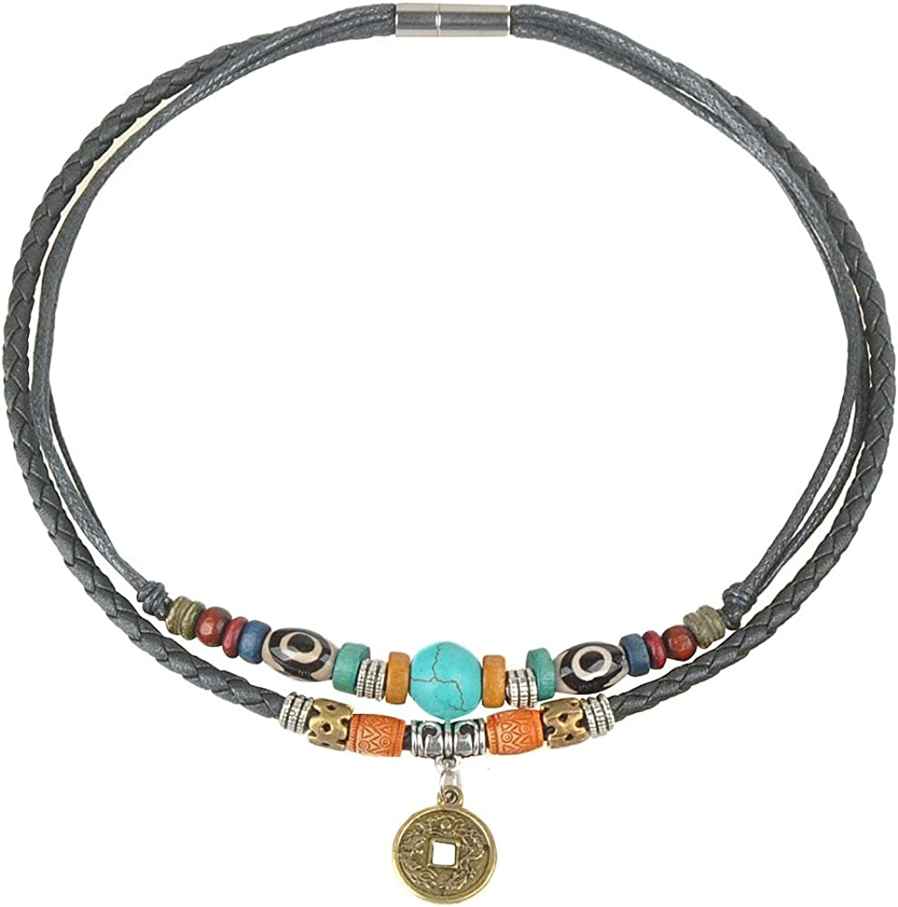 Ancient Tribe Women's Hemp Genuine Leather Turquoise Bead Choker Necklace,15 Inches