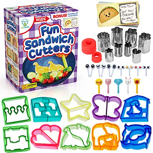 UpChefs Sandwich Cutters for kids - Create Healthy School Lunches in Minutes with These Fun Bento Lunch Box Accessories – Includes Fruit and Vegetable cookie cutters – Food Picks Plus Scratch Notes