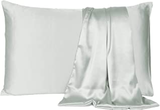 Satin Pillow Cover Pillowcase Soft & Comfortable Silky for Hair & Skin Bedroom Decor (Silver Gray, Toddler Size,12X19 INCHES)
