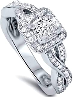 1ct Princess Cut Diamond Halo Infinity Engagement Ring 14K White Gold
