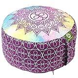 Lotus Design Meditationskissen/Yogakissen rund, Chakra Muster, 15 cm hoch, Bezug 100% Baumwolle...