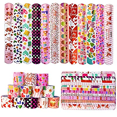 Jofan 48 PCS Valentines Slap Bracelets Toys for Kids School Class Classroom Valentines Day Cards Gifts Prizes Party Favors