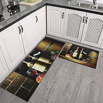 Demvemin 2 PCS Kitchen Rugs and Mats Non Skid Washable Soft Super Absorbent Wine Themed Style Still Life Kitchen Mat Doormat Carpet Bathroom Runner Set