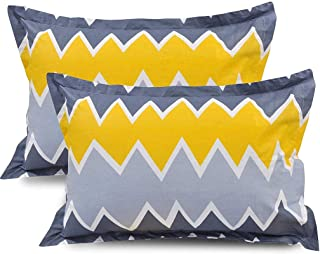 BSB HOME® 100% Cotton Printed Design King Size Pillow Covers Set of 2 (18X28 Inches, Blue, Yellow and Grey)