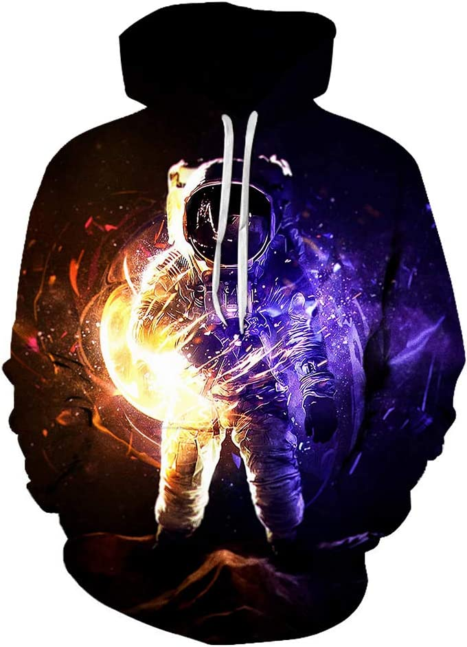MNmkjgfgj Pullover 3D Astronaut Simple Design Pullover Comfortable and Loose Men (Color : A13, Size : X-Large)