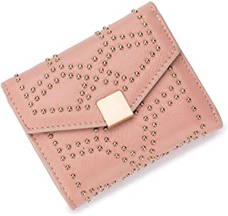 Genuine Leather Wallet for Women, Rivet Studded Money Organizer, Smart Leather Credit Card Case, Multipurpose Small Purse...