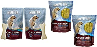 Meat up Calcium Bone Pouch, Dog Treats - 25 Pieces (230 gm) (Buy 1 GET 1 Free) & Meat Up Munchy Sticks, Chicken Flavour, Dog Treats, 400 g (Buy 1 Get 1 Free)